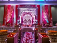 4 Pillar Jodha Akbar Mandap Red Gold Creme Theme