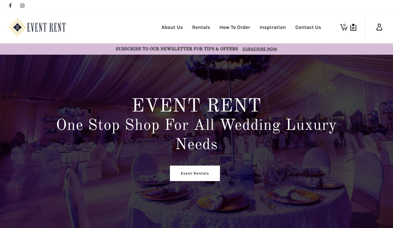 Event Rent Rentals Website